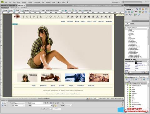 Snimak zaslona Adobe Dreamweaver Windows 8
