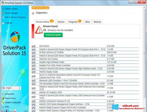 Snimak zaslona DriverPack Solution Windows 8