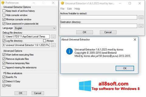 Snimak zaslona Universal Extractor Windows 8
