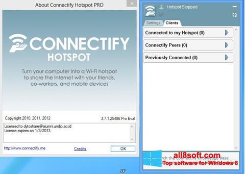 Snimak zaslona Connectify Hotspot Windows 8