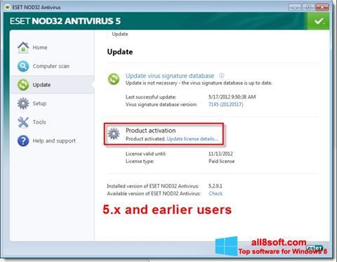 Snimak zaslona ESET NOD32 Windows 8