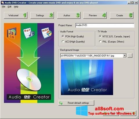 Snimak zaslona Audio DVD Creator Windows 8
