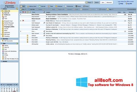 Snimak zaslona Zimbra Desktop Windows 8