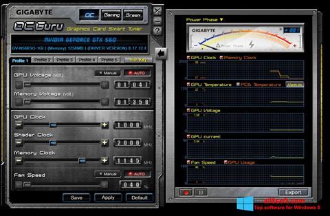 Snimak zaslona GIGABYTE OC Guru Windows 8