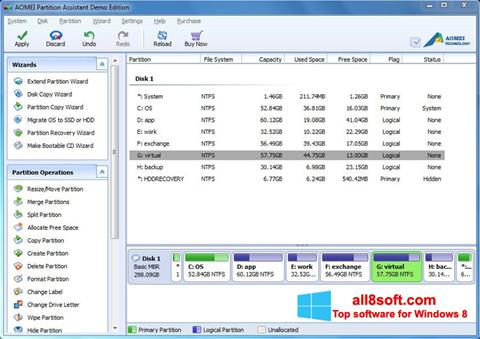 Snimak zaslona AOMEI Partition Assistant Windows 8