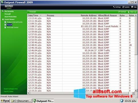 Snimak zaslona Outpost Firewall Free Windows 8