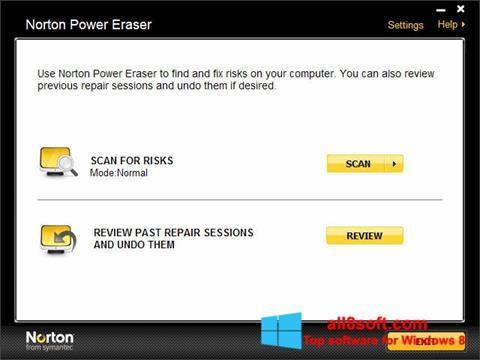 Snimak zaslona Norton Power Eraser Windows 8