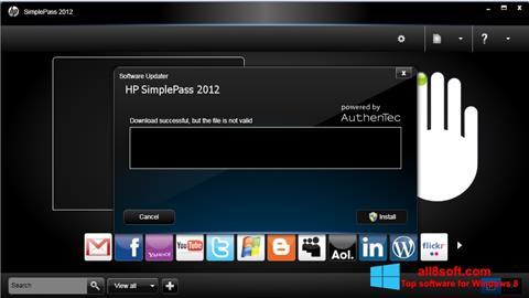 Snimak zaslona HP SimplePass Windows 8