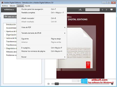 Snimak zaslona Adobe Digital Editions Windows 8