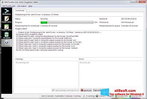 Snimak zaslona MKVToolnix Windows 8