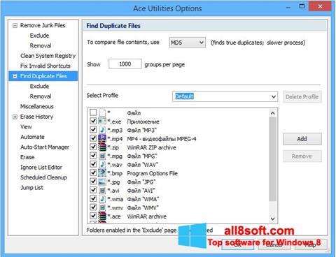 Snimak zaslona Ace Utilities Windows 8