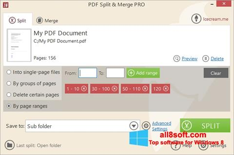 Snimak zaslona PDF Split and Merge Windows 8