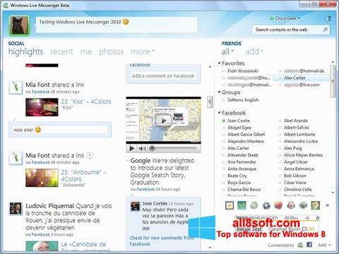 Snimak zaslona Windows Live Messenger Windows 8