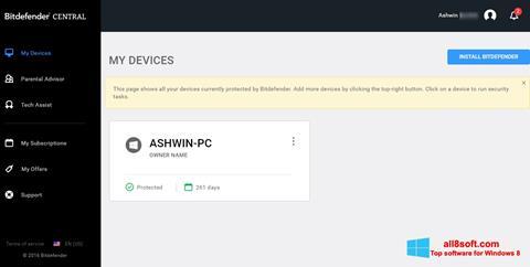 Snimak zaslona Bitdefender Windows 8