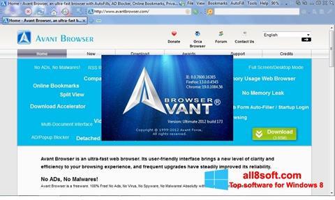 Snimak zaslona Avant Browser Windows 8