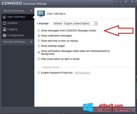 Snimak zaslona Comodo Windows 8