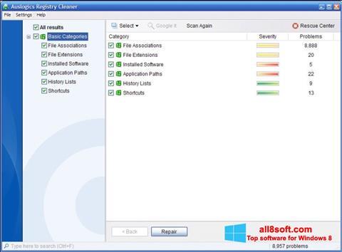 Snimak zaslona Auslogics Registry Cleaner Windows 8