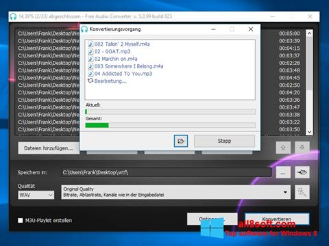 Snimak zaslona Free Audio Converter Windows 8