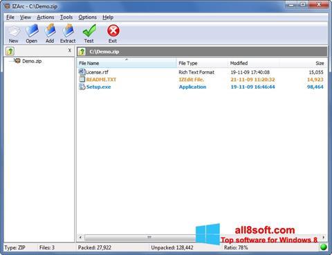 Snimak zaslona IZArc Windows 8