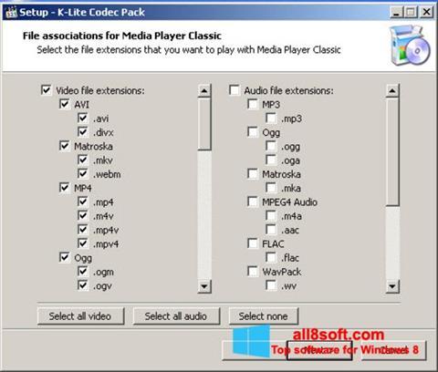 Snimak zaslona K-Lite Codec Pack Windows 8
