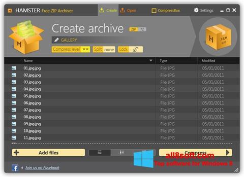 Snimak zaslona Hamster Free ZIP Archiver Windows 8