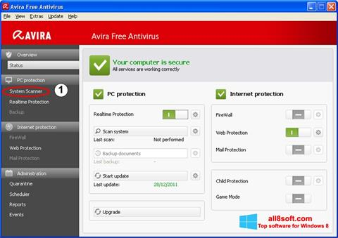 Snimak zaslona Avira Windows 8