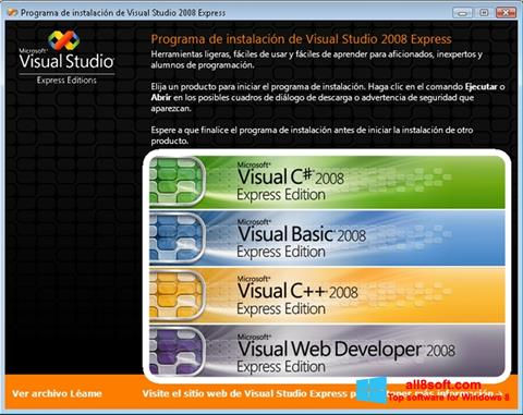 Snimak zaslona Microsoft Visual Studio Windows 8