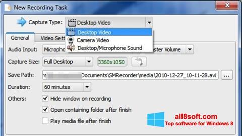 Snimak zaslona SMRecorder Windows 8
