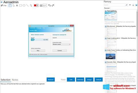 Snimak zaslona AeroAdmin Windows 8